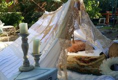 Boho meditation vintage Gypsy lace crochet tent bed by HippieWild