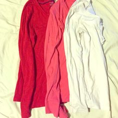 Bundle Long Sleeve Tees-a Wardrobe Essential All 3 are in perfect condition. The Cream is Medium from Old Navy. The pink is Medium and Copper Key brand. The red is George brand--tag says small but fits more like a Medium. All were about $12 each. Tops Tees - Long Sleeve