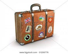 Reizen koffer met stickers. Uitknippad opgenomen. Computer gegenereerde afbeelding.