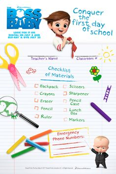 Get ready to go back to school with this fun printable for The Boss Baby.