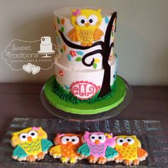 Owl themed baby girl shower. Buttercream iced strawberry lemonade cake with coordinating owl cookies