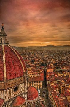 Sunset in Florence Italy.