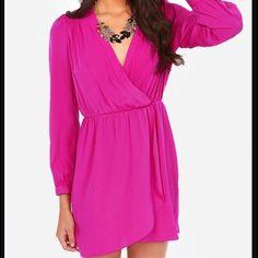 Never been worn! Pink long sleeve dress Pink long sleeve wrap dress with scrunch around waist area Honey Punch Dresses Long Sleeve