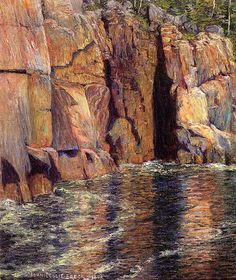 """The Cliffs at Ironbound Island, Maine,""   John Leslie Breck , 1898, oil on canvas, 22 x 18"", private collection."