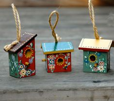 beautiful folk art birdhouse ornament