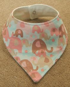 New Handmade Baby Bandana Dribble Bib - Pink and Brown Elephants