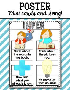 Infer Poster, Song and Mini Cards for First Grade and Kindergarten reading. $1
