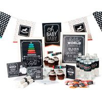 """Hello World Ensemble -- Fun, fresh chalkboard-inspired baby shower with pops of color!  All the pieces you need to plan a shower start to finish: invites, banner, and food!  Download includes: * Thank you greeting card template (3-1/2"""" x 5"""") * Invitation greeting card template (5-1/2"""" x 4-1/4"""")  * Announcement double-sided postcard template   (7"""" x 5"""")  * 9-page designer décor template (8-1/2"""" x 11"""")  * 49-piece SVG stamp brush set * 5 Designer Series Papers * 32 embellishments * 1 punch"""