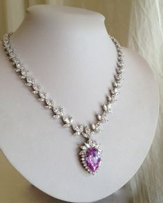 Vintage Sterling Silver Lavender Sapphire and Diamond Estate Jewelry Necklace by WOWTHATSBEAUTIFUL