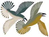 Dancing Ravens, by Kenojuak Ashevak (Inuit artist), Cape Dorset, 2003 -- Stonecut and Stencil