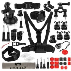 PULUZ 45 in 1 Accessories Ultimate Combo Kit (Chest Strap   Suction Cup Mount   3-Way Pivot Arms   J-Hook Buckle   Wrist Strap   Helmet Strap   Surface Mounts   Tripod Adapter   Storage Bag   Handlebar Mount   Wrench) for GoPro HERO4 Session /4 /3  /3 /2 /1