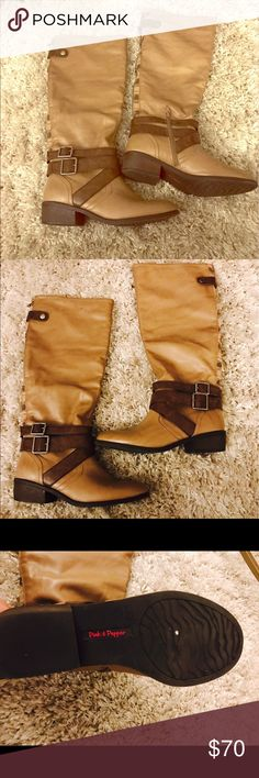 NWOT BEIGE BROWN RIDING BOOTS These beautiful beige and brown boots are perfect for any season. No damage NWOT. pink & pepper Shoes Winter & Rain Boots