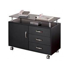 Rolling File Cabinet Home Office Furniture Glass Table Top Storage Mobile Desk #TechniMobili