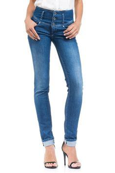 Salsa Store - Calças de ganga Elegant com cinta média e perna justa
