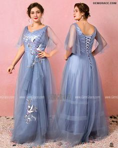 10% off now Custom Dusty Blue Pleated Vneck Formal Dress with Birds Embroidery Plus Size High Quality at GemGrace. Click to learn our pro custom-made service for wedding dress, formal dress. View Plus Size Prom Dresses for more ideas. Stable shipping world-wide. Plus Size Prom Dresses, Formal Dresses, Wedding Dresses, Mother Of The Bride Looks, Bird Embroidery, Affordable Dresses, Custom Dresses, Dusty Blue, Dresses Online