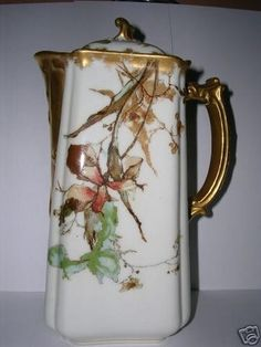 DESCRIPTION STUNNING Example of Early Impressionism on Porcelain 19th Century Chocolate Pot on Popular Haviland & Co. POMPADOUR Blank. Japanese Influenced Flowers differ on each side; they appear to