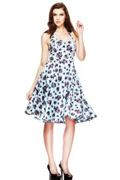 Amazon.com: Hell Bunny Plus Size Miranda 50s Dress Blue Victorian Tea Party Garden Flower Print Party Dress: Clothing