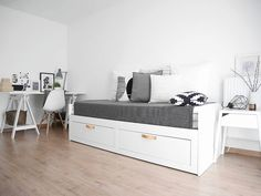 ikea brimnes bed full day beds small daybed office guestroom daybed daybed ikea brimnes bed with storage Basement Guest Rooms, Guest Bedroom Office, Guest Bedrooms, Girls Bedroom, Bedroom Decor, Master Bedroom, Ikea Hemnes Daybed, Hemnes Bed, Decorating Rooms