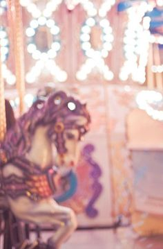 Carousel Photo, Carnival Horse with Twinkle Lights, Pink Nursery Decor, Wall Art