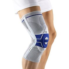 The Bauerfeind® GenuTrain® P3 is an anatomical knitted support that's ideal for athletes. Two integral massage pads and an adjustable corrective strap hold the kneecap securely in a natural, central position, activating the musculature and speeding up the healing process. The elastic knit design adapts perfectly to the shape of the knee; breathable materials and reduced pressure at the edges ensure comfortable wear. Popular knee brace for running. #knee #braces #running #support