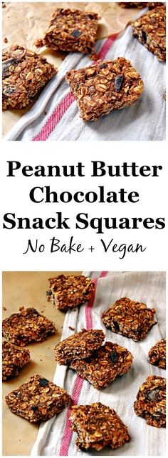 Peanut Butter Chocolate Snack Squares | uprootkitchen.com