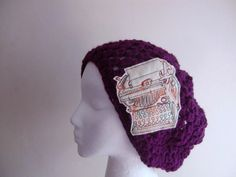 Eggplant Slouchy Hat Beanie with  Typewriter Applique Ready To Ship. $30.00, via Etsy. --this shop is to die for!