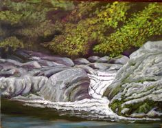 "Work in progress - upper Pigeon River, oil on canvas, 14""x18"" - probably finish in August 2016"