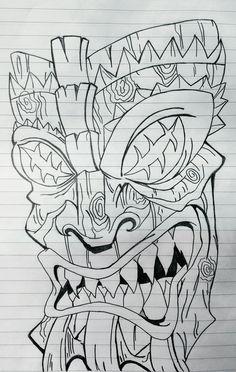 Tattoo Outline Drawing, Mask Drawing, Outline Drawings, Art Drawings, Wiki Tiki, Totem Pole Tattoo, Tiki Faces, Tiki Man, Tiki Tattoo