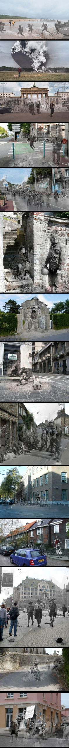 Historical events layered over modern-day locations