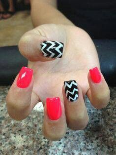 Nail Designs with red instead of pink! Football nails