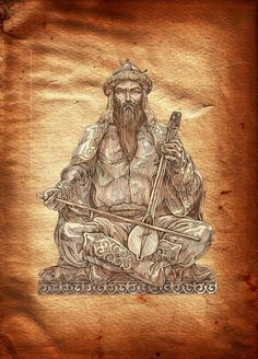 Korkyt baba. The first kobyz* player. Painter Alibek Koilakayev. (The Kobyz is an ancient Kazakh string instrument.)