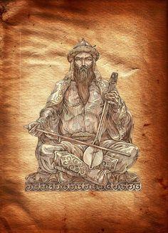 Korkyt baba. The first kobyz* player. Painter Alibek Koilakayev. (The Kobyz is an ancient Kazakh string instrument.)