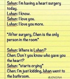 oh my gosh that actually made me really sad for a moment!!!! TToTT. Chen you troll. XD