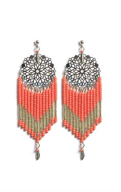Boucles Dreamcatcher Corail via Rubambelle. Click on the image to see more!