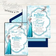 Do you have a big Frozen fan at home that's excited to have a Princess Elena birthday party? Then look no further than this whimsically vibrant and playful invitation to help make their dreams come true! From white and frozen shades of blue, to the sheen and trendy patterns, this adorable Frozen birthday invitation is sure to please your little princess and kick off the party in style! Princess Birthday Invitations, Printable Birthday Invitations, Printing Services, Frozen Party, Party Packs, Little Princess, Your Cards, Thank You Cards