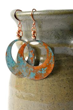This item is unavailable These copper hoop earrings have a beautiful verdigris patina. Patina is what we do best and these e Moon Earrings, Copper Earrings, Turquoise Earrings, Copper Jewelry, Sterling Silver Earrings, Stud Earrings, Gold Necklace, Earrings Handmade, Handmade Jewelry