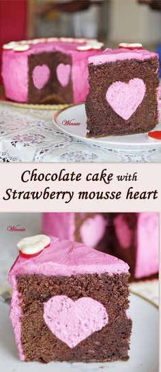 Chocolate cake with strawberry mousse heart #chocolate #strawberry #heart #Valentine's Day
