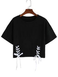 T-Shirt+mit+Schnürung+rundhals+kurzarm+-+schwarz+8.33
