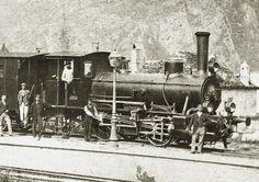 Gotthardbahn-Gesellschaft Lokomotive E 2/2 Nr. 4 (spätere SBB-Nr. 8064), gebaut 1874 in der Schweizerischen Lokomotiv- und Maschinenfabrik in Winterthur.