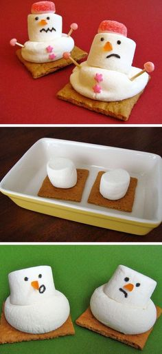 Melted Snowman Treats | Click for 26 Easy Christmas Party Food Ideas for Kids | Easy Holiday Treats for Kids to Make