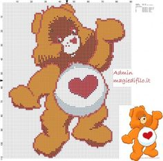 Tenderhearth Bear Care Bears free cross stitch pattern (click to view):