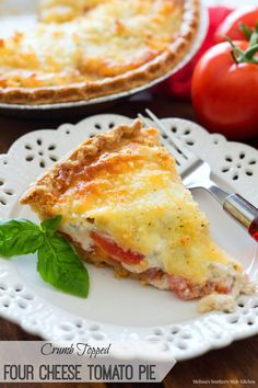 This awesome four cheese tomato pie is a celebration of vine ripened tomatoes. Juicy tomato slices are baked together with mozzarella, provolone, creamy and garlic-herb flavored cheese. The top is sprinkled with a Parmesan-panko crumb Vegetable Recipes, Vegetarian Recipes, Cooking Recipes, Pie Recipes, Vegetable Pie, Amish Recipes, Quiche Recipes, Brunch Recipes, Casserole Recipes
