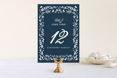 Floral Frame Square Wedding Table Numbers by Lori Wemple at minted.com