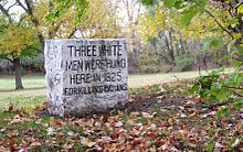 """In Fall Creek Park in Pendleton, Indiana, a stone marker reads """"Three white men were hung here in 1825 for killing Indians."""" """"In 1824, nine Indians were murdered by white men near this spot. The men were tried, found guilty and hanged. It was the first execution of white men for killing Indians."""