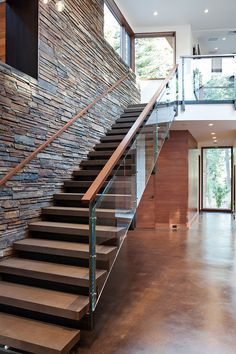 Mountain Modern Digs - contemporary - staircase - sacramento - Ward-Young Architecture & Planning - Truckee, CA Stair Railing Design, Home Stairs Design, Interior Stairs, House Design, Railings, Glass Stair Railing, Staircase Glass Design, Glass Handrail, Stone Interior