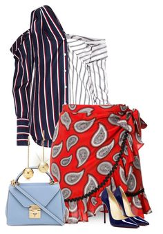 """Asymmetrical Striped Shirt & Paisley Wrap Skirt"" by majezy ❤ liked on Polyvore featuring Monse, Dodo Bar Or and Mark Cross"
