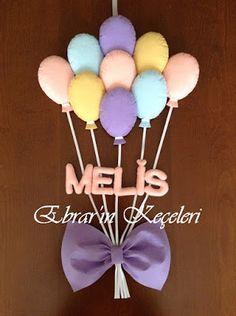 Ebrar'ın Keçeleri: Melis Bebeğin Balon Demeti Kapı Süsü Felt Crafts Diy, Baby Crafts, Baby Door Decorations, Magic Circle Crochet, Diy For Kids, Crafts For Kids, Kids Room Accessories, Felt Crown, Felt Banner