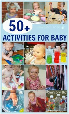 Sensory Play Activites for Babies 50 Super Fun Activities Just For Baby – from growingajewlesdrose has a lot of ideas for sensory stuff Baby Sensory Play, Baby Play, Baby Kids, Infant Activities, Activities For Kids, Infant Games, Activities For Babies Under One, Toddler Play, Montessori Toddler