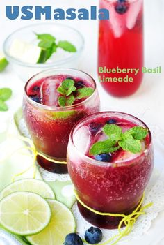 US Masala: Sparkling Blueberry Basil Limeade (Skinny).this looks good, very very good! Summer Drinks, Fun Drinks, Beverages, Party Drinks, Healthy Drinks, Good Food, Yummy Food, Clean Eating Diet, Healthy Eating