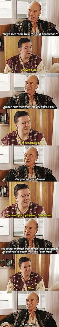 Funny pictures about Patrick Stewart on Extras. Oh, and cool pics about Patrick Stewart on Extras. Also, Patrick Stewart on Extras. Ricky Gervais, Patrick Stewart, Humour Geek, Humor, Johnny Depp, Geeks, Rick Y, My Sun And Stars, Star Wars